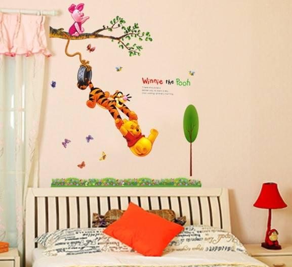 """สติ๊กเกอร์ติดผนัง สำหรับห้องเด็ก """"Winnie the Pooh"""" ความสูง 160 cm กว้าง 102 cm"""