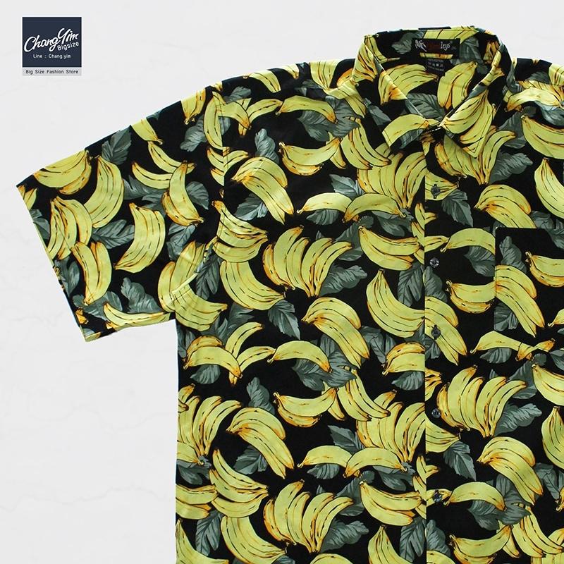 เสื้อเชิ๊ตแขนสั้น ลายกล้วยไม้ สีดำ 2XL , 3XL