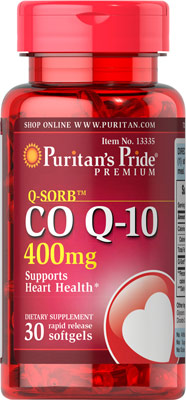 ลดริ้วรอย Puritan's Pride Co Q-10 (โคเอ็นไซม์ คิวเท็น) ขนาด 400 mg จำนวน 30 เม็ด