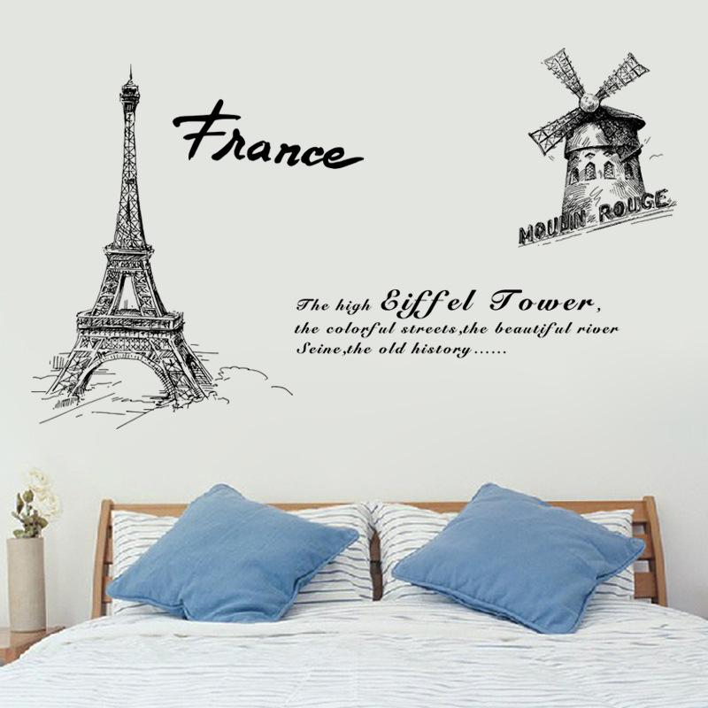 """สติ๊กเกอร์ติดผนัง ตกแต่งบ้าน Wall Sticke """"France Eiffel Tower """" ความสูง 100 cm กว้าง 150 cm"""