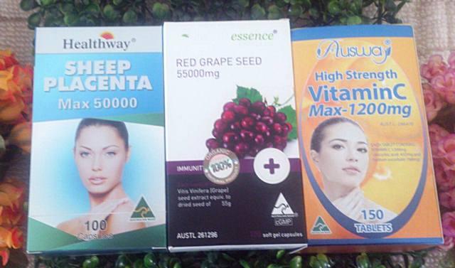 รกแกะ50,000mg. 1 ขวด 100 เม็ด + healthessence greapeseed 55,000 mg. 1 กล่อง 100 เม็ด+ ออสเวย์ vit c max 1 ขวด 150 เม็ด
