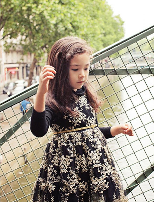 ชุดเดรสแขนกุด กระโปรงพองฟู สีดำ ลายดอกไม้ ชุดออกงานเด็ก น่ารัก คุณหนูสุดๆ สไตล์เด็กเกาหลี ไซส์ 100