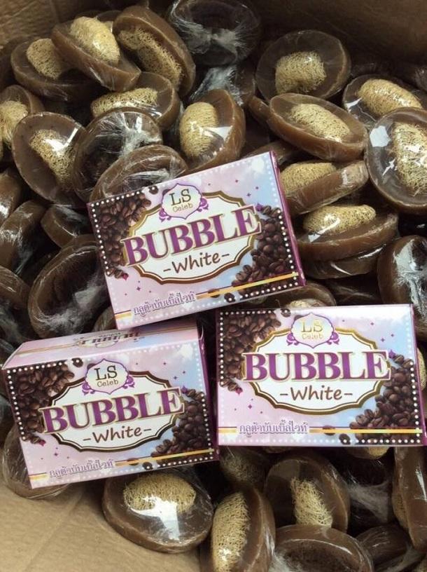 LS Celeb BUBBLE White สบู่กลูต้าสครับ กากกาแฟอราบิก้าใยบวบ ขาวเนียนนุ่ม ลดเซลล์ลูไลท์ ขี้ไคลกระจาย