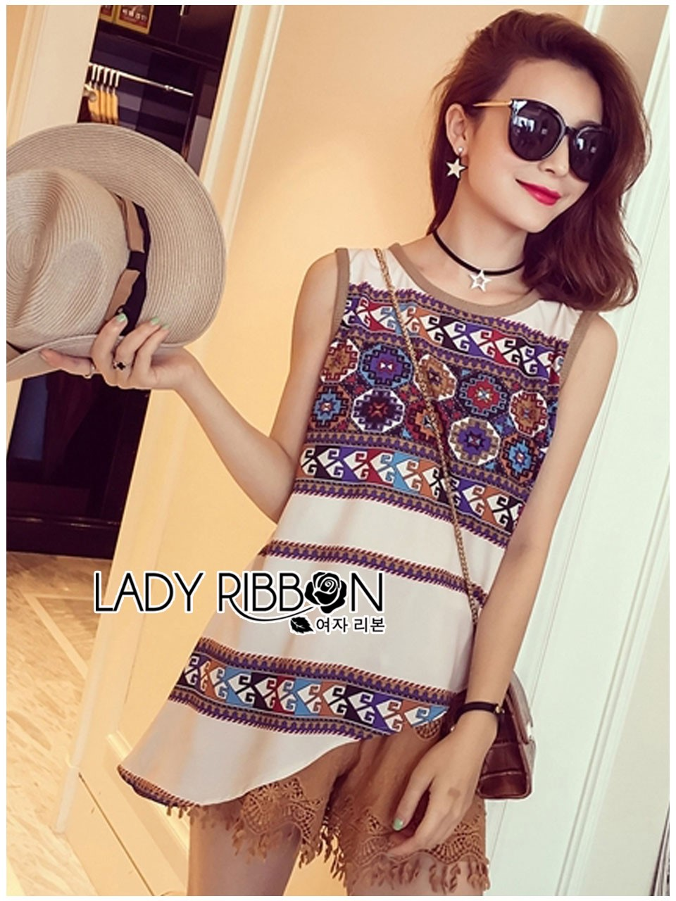 &#x1F380 Lady Ribbon's Made &#x1F380 Lady Helena Hippie Chic Printed Tank Top and Embroidered Cotton Shorts Set สีขาว