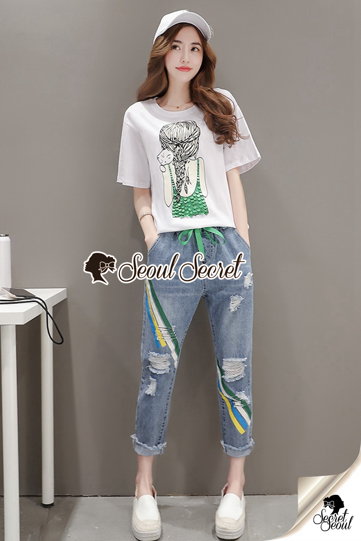 Seoul Secret Say's... Braid Emer Green Squiny Denim Set