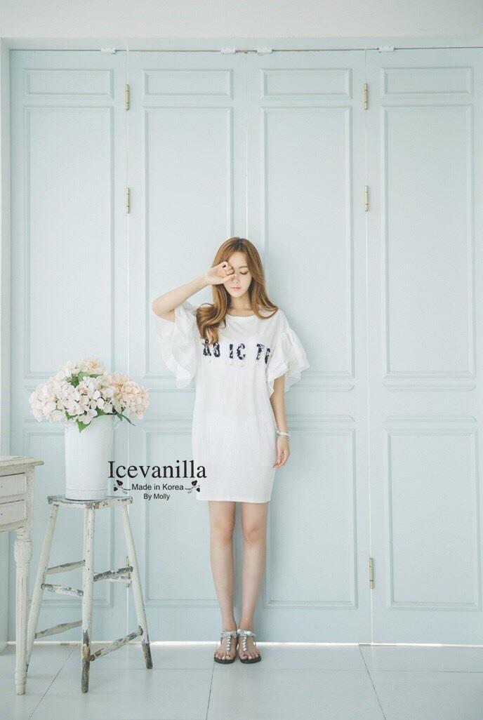 Alphabet Sequined flounced sleeve Dress