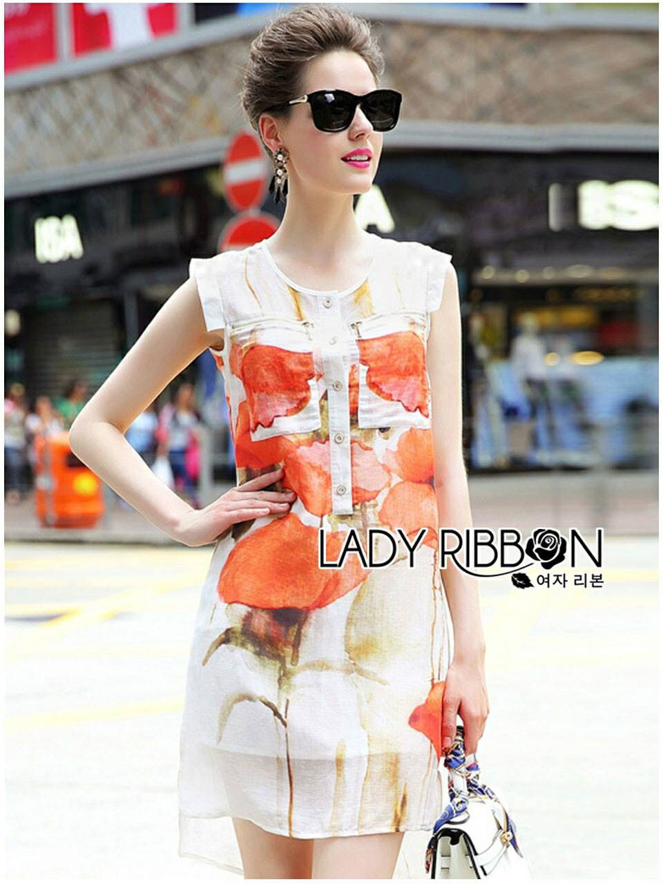 Lady Kimberley Smart Casual Holiday Orange Flower Printed Chiffon Dress