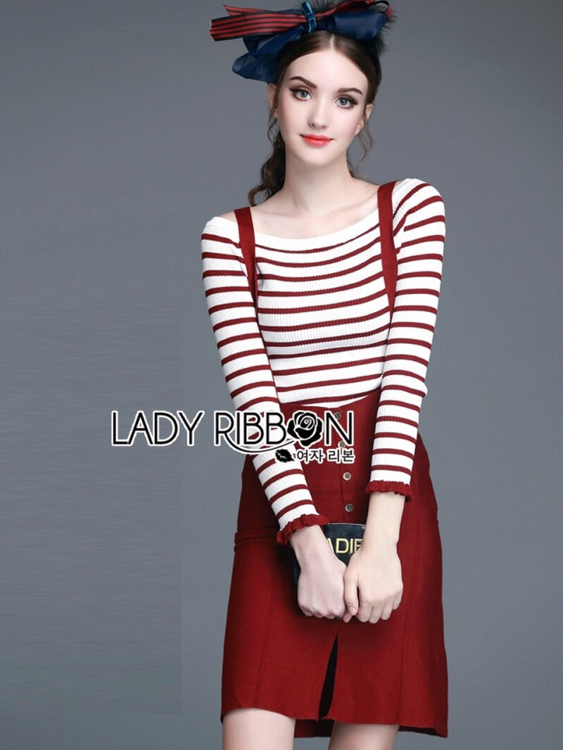 Lady Ribbon's Made Lady Elena Super Chic Striped Wool Knit Sweater and Overall Dress สีแดง