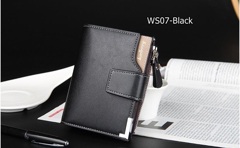 WS07-Black กระเป๋าสตางค์ใบสั้น แนวตั้ง กระเป๋าสตางค์ผู้ชาย หนัง PU เกรดเอ สีดำ