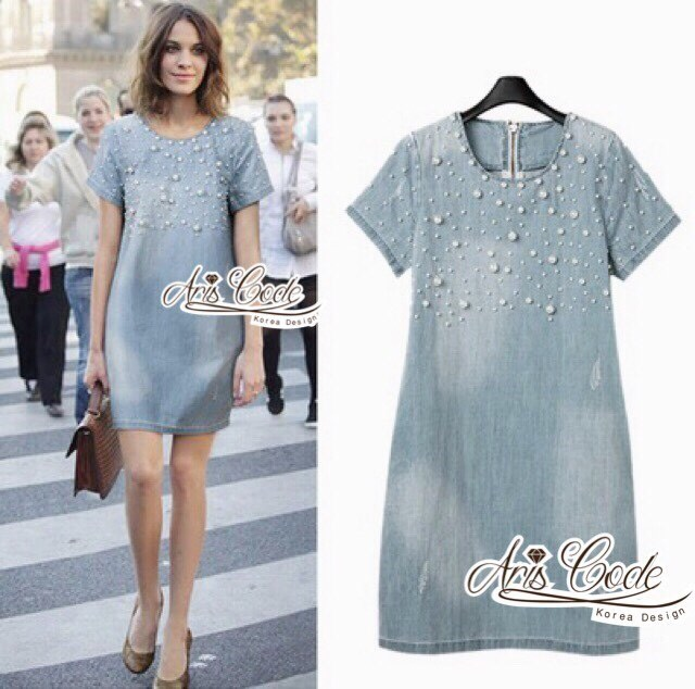 Zara denim dress, pearls by Aris Code