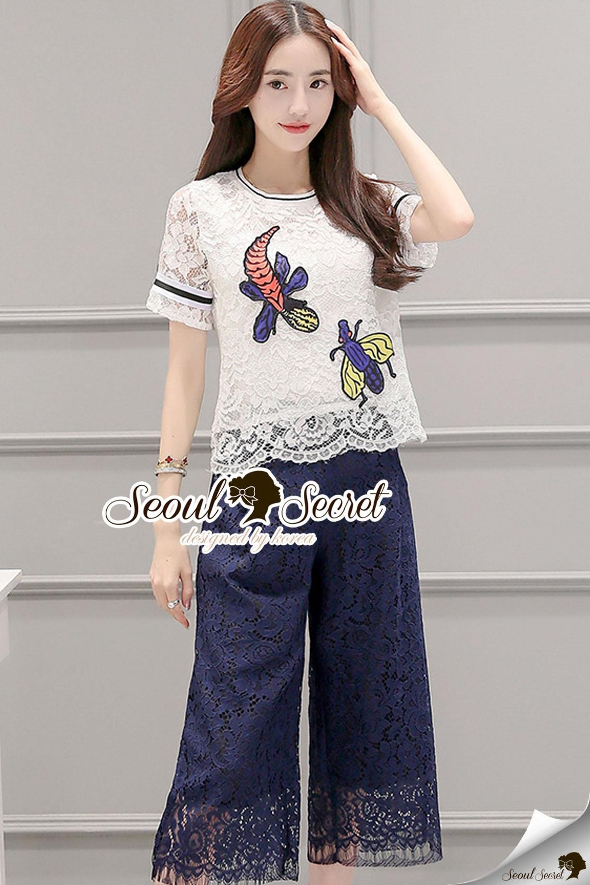 Seoul Secret Say's... Buggy Lace Stick Saphire Blue Lace Pants Set