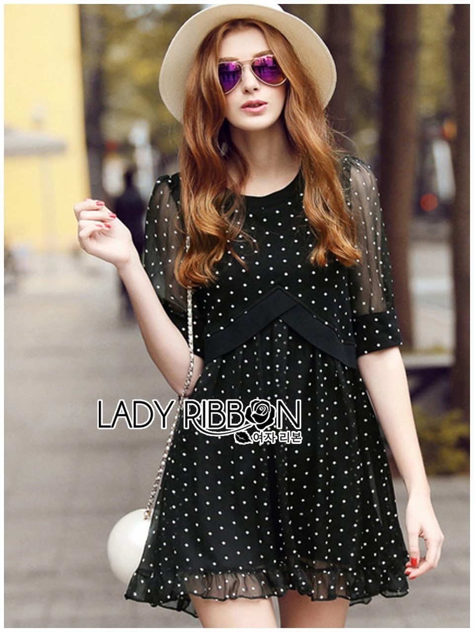 Lady Ribbon's Made Lady Elena Feminine Cross Dot Printed Chiffon and Knitted Dress