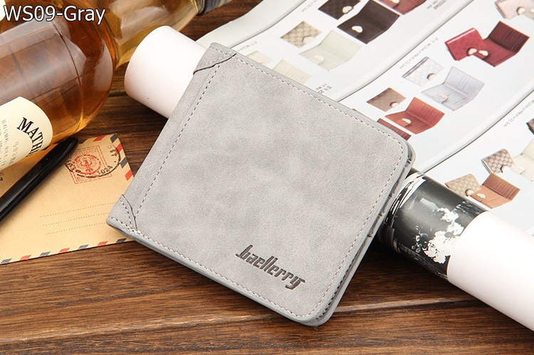 WS09-Gray กระเป๋าสตางค์ใบสั้น แนวนอน กระเป๋าสตางค์ผู้ชาย หนัง PU เกรดเอ สีเทา