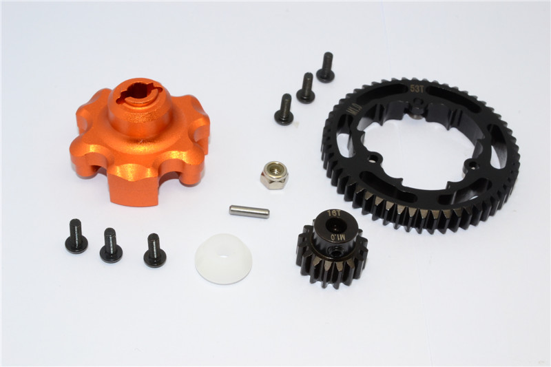 ALUMINIUM GEAR ADAPTER+STEEL SPUR GEAR 53T+MOTOR GEAR 16T - 1SET
