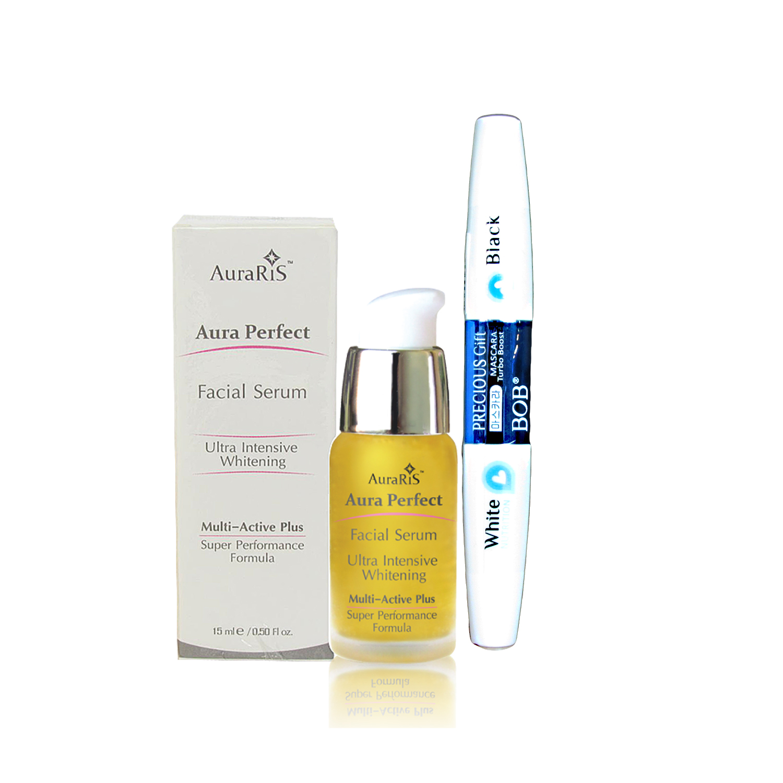 AuraRIS เซรั่ม บำรุงผิวหน้า ครีมหน้าขาว AuraRIS Facial Serum 15 ml. + BOB Precious Gift Mascala มาสคาร่า ปัดขนตาสวยเด่น ยาวหนา มีเสน่ห์ (1 ชิ้น)
