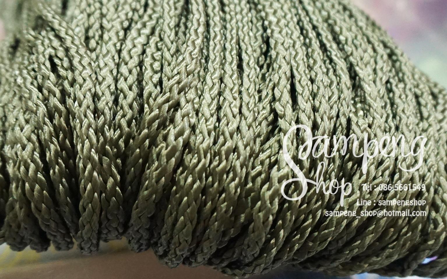 เชือกถัก P.P. #8 สีเขียวขี้ม้า (10เมตร)