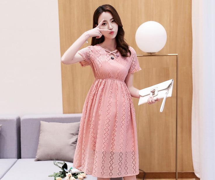 ชุดคลุมท้องเกาหลี ผ้าฉลุลายสวยมาก ประดับลูกไม้ ซับในทั้งชุด M,L,XL,XXL