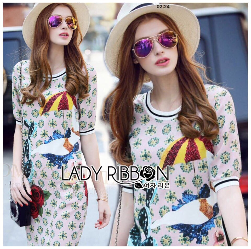 Lady Ribbon Korea LR10190516 &#x1F380 Lady Ribbon's Made &#x1F380 Lady Jeanne Korea Sweet Playful Colourful Printed Denim Dress เ