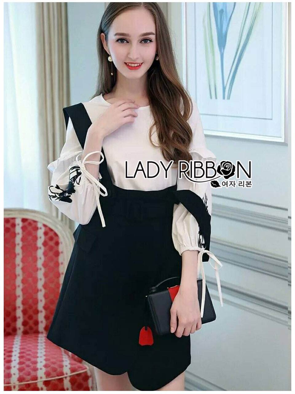 🎀 Lady Ribbon's Made 🎀 Lady Eva Embroidered Cotton Blouse with Black Overall Dress