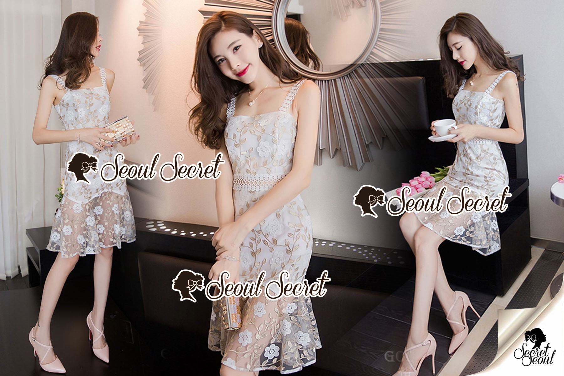 Seoul Secret Say's... Lala Leafly Sequen Cami Dress
