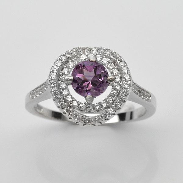 แหวนพลอยแท้ แหวนเงิน925 ชุบทองคำขาว ฝังพลอยอเมทิส ประดับเพชร CZ เกรดพรีเมี่ยม