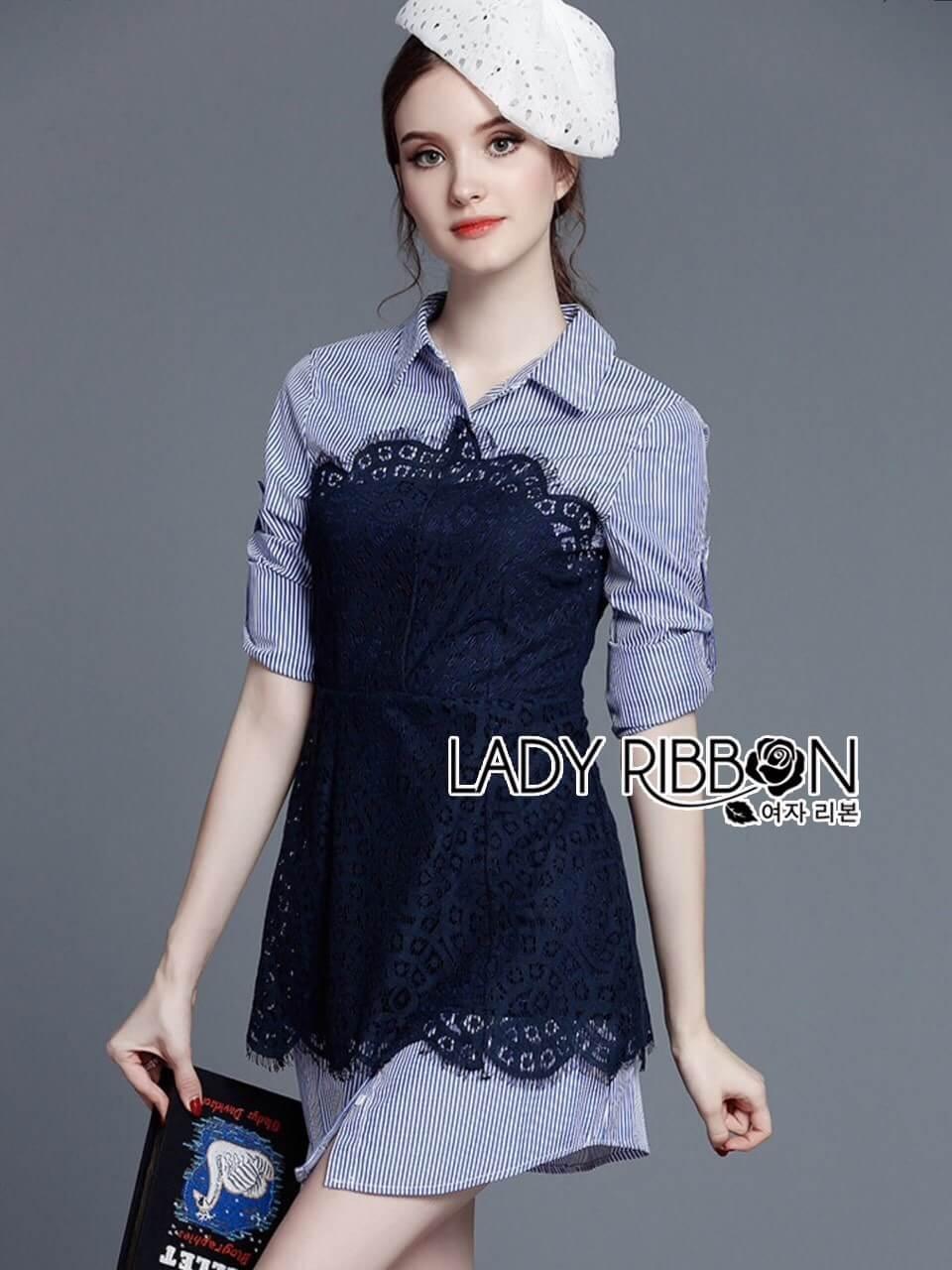 &#x1F380 Lady Ribbon's Made &#x1F380 Lady Jennifer Sexy Striped Poplin Cotton and Dark Blue Lace Shirt Dress