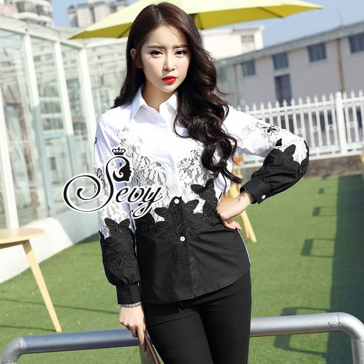 Sevy Butterfly See-Through Long Sleeve Black & White Shirt