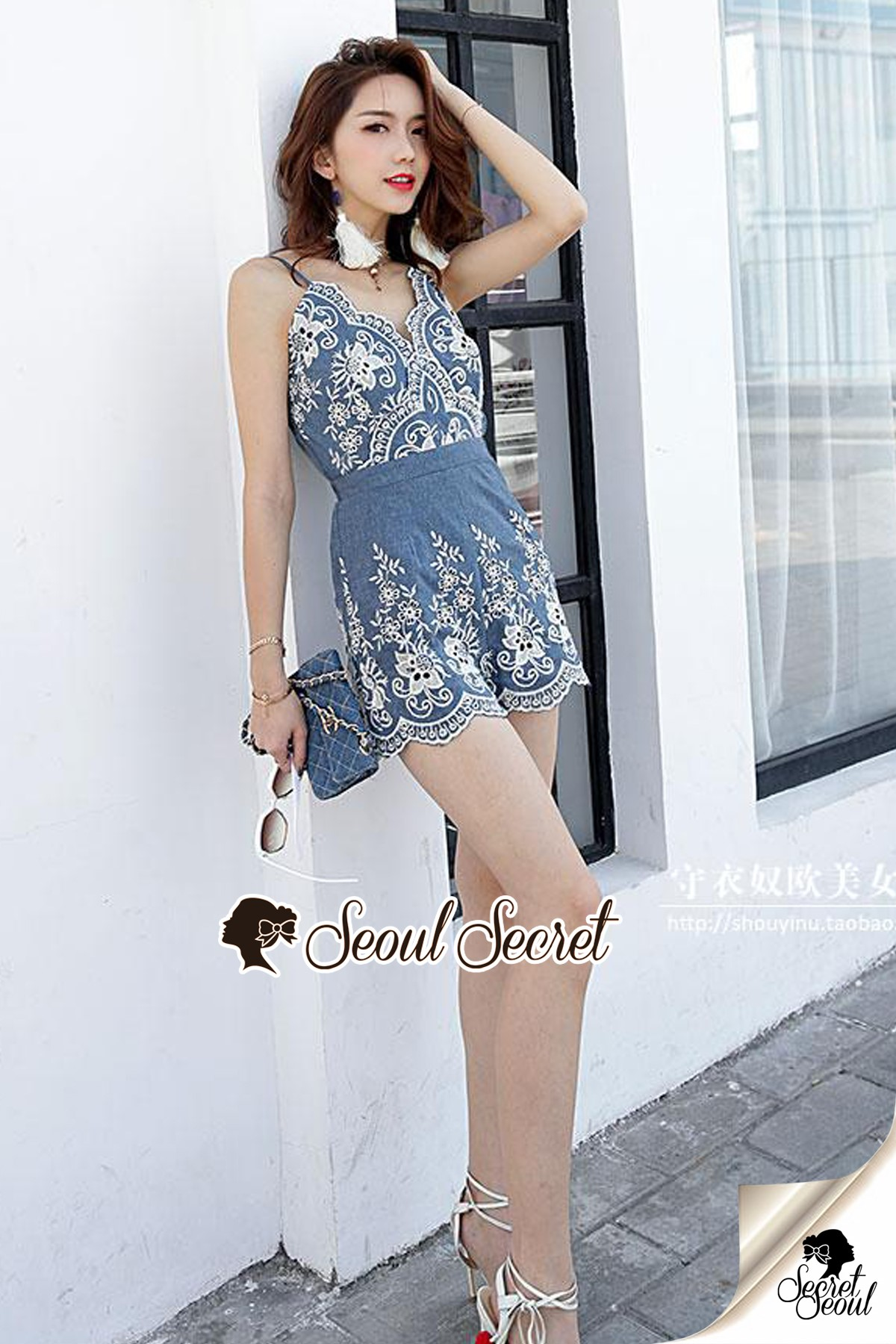 Seoul Secret Say's... Soosy Cami Playsuite Bohe Embroider