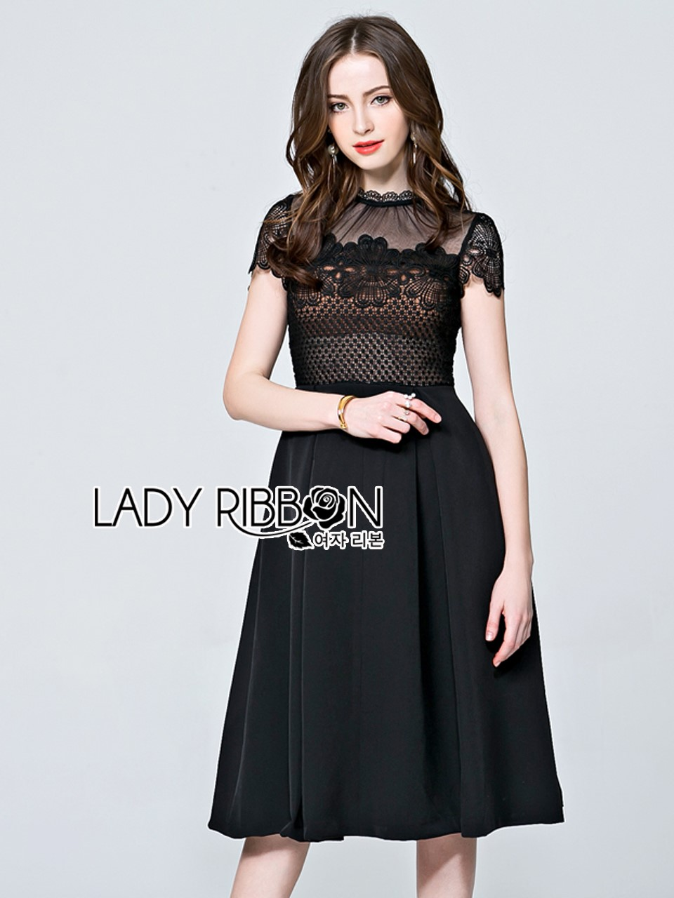 &#x1F380 Lady Ribbon's Made &#x1F380 Lady Chiara Dramatic Chic High-Neck Lace and Cotton Midi Dress