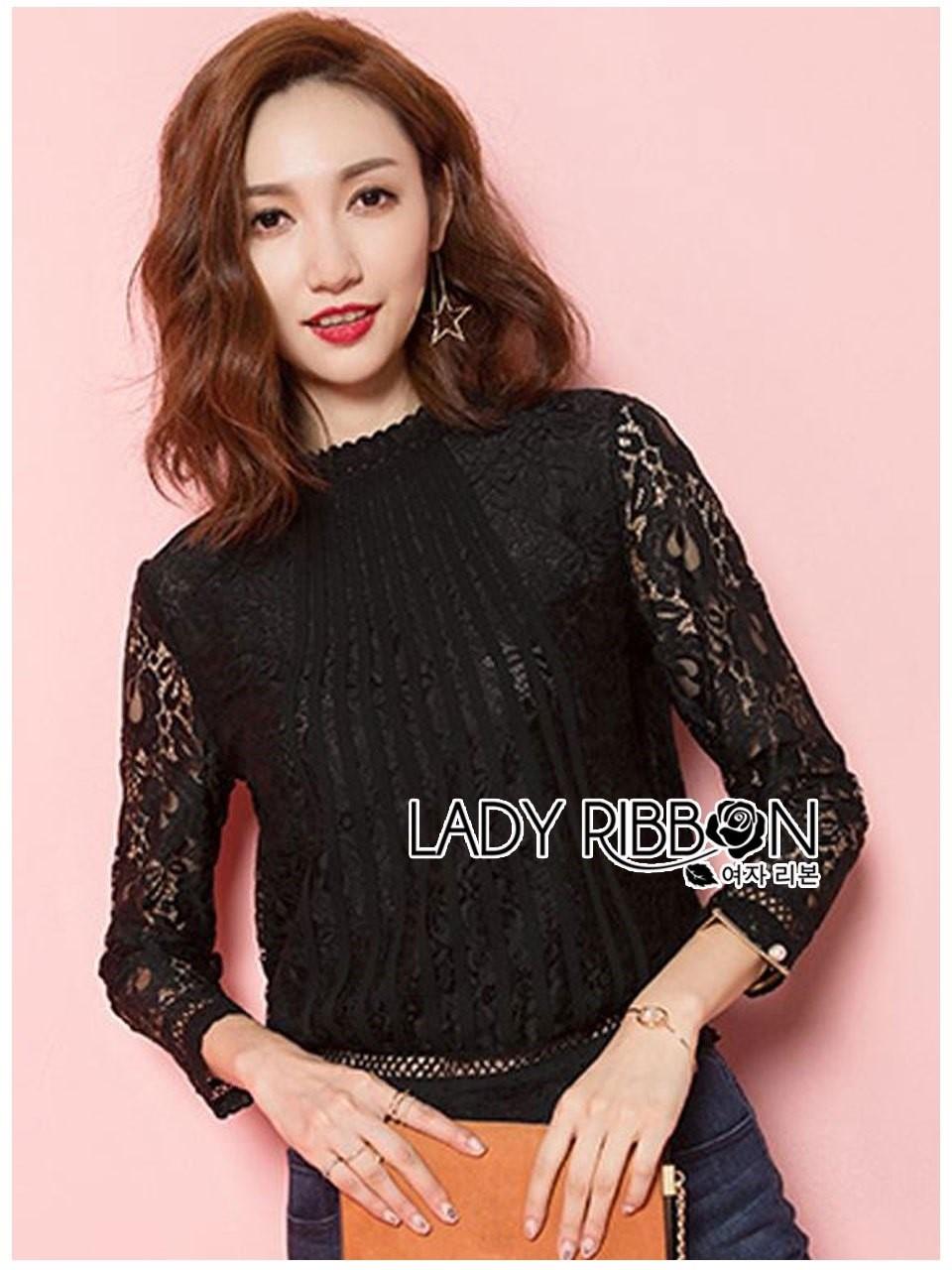 &#x1F380 Lady Ribbon's Made &#x1F380 Lady Becca Smart Elegant High-Neck White Lace Blouse
