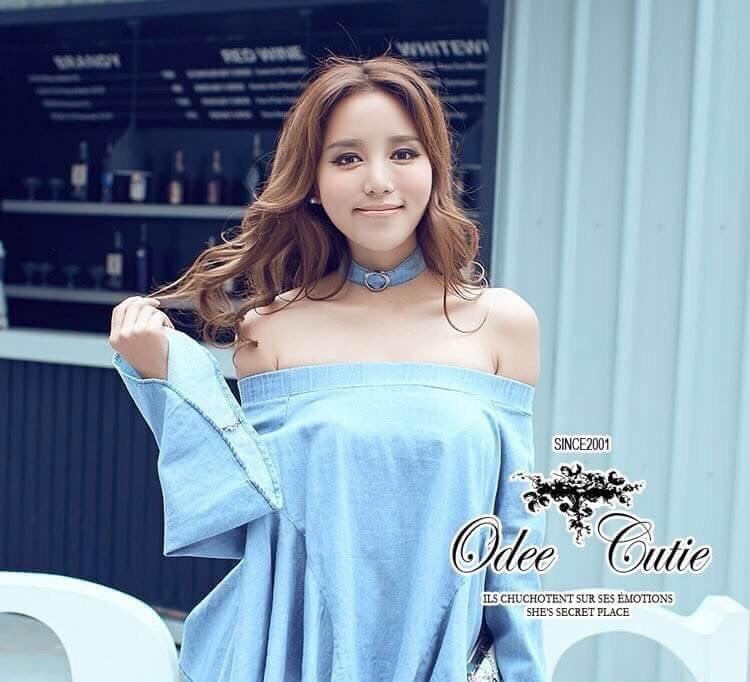 &#x2654Denim off-shoulder bell sleeve blouse&#x2654 &#x2661Odee&Cutie Daily Fashion 2016&#x2661