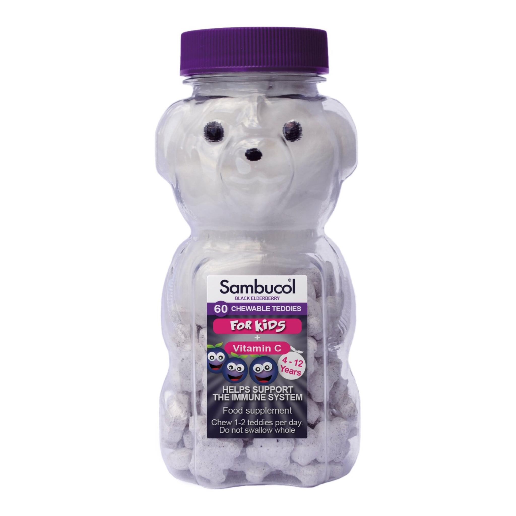วิตามินเสริมภูมิคุ้มกันเคี้ยวอร่อยสำหรับเด็ก Sambucol Black Elderberry Chewable Teddies for Kids + Vitamin C