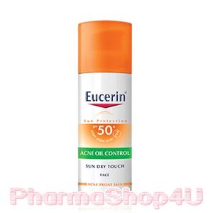 Eucerin Sun Dry Touch Acne Oil Control 50mL ปกป้องผิวจากแสงแดด คุมความมันระหว่างวัน ลดสาเหตุสิว-ฝ้ากระ