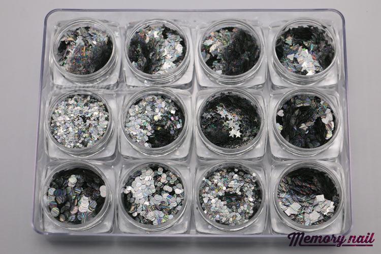 กากเพชรสีเงิน เรเซอร์ลายเส้น กลิตเตอร์ 3D คละแบบ 12แบบ 12กระปุก