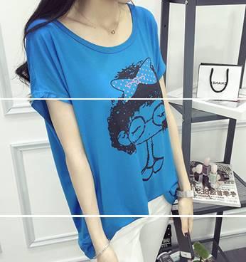 เสื้อแฟชั่น คอกลม แขนค้างคาว ลายการ์ตูน สีฟ้า