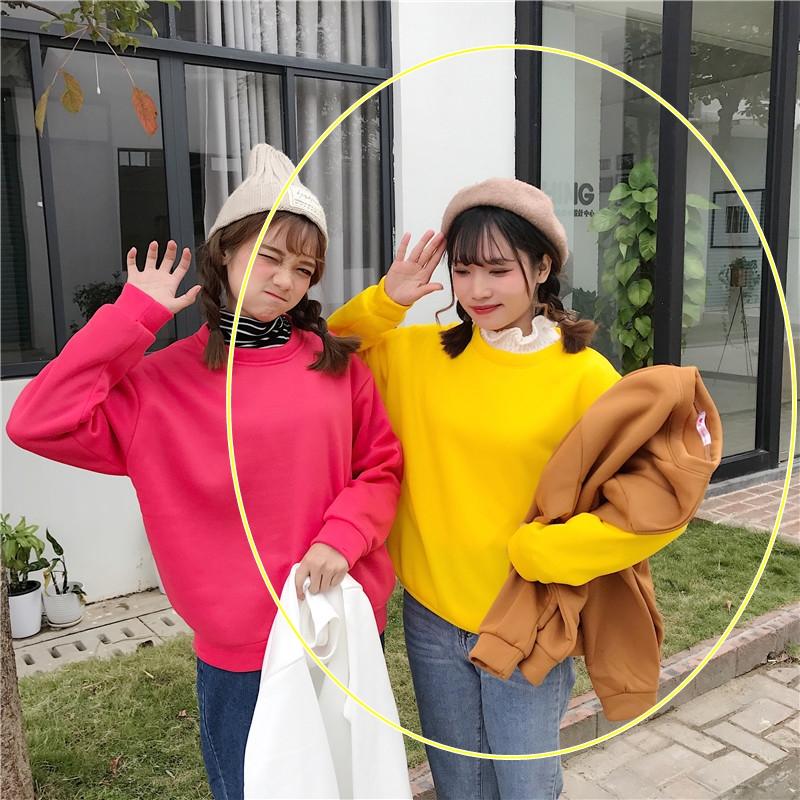 เสื้อกันหนาวแฟชั่น คอกลม แขนยาว สีพื้น สีเหลือง