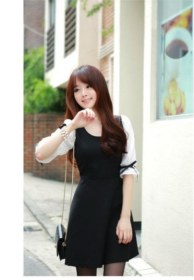 พร้อมส่ง-เดรสทำงานสไตล์เกาหลี แขน3ส่วนแต่งโบว์ สีขาวดำ น่ารักสุดๆ