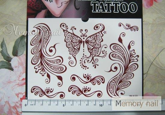 YM-K101 สติ๊กเกอร์สักแฟชั่น sticker tattoo ลายผีเสื้อ 15.5x10.8 cm