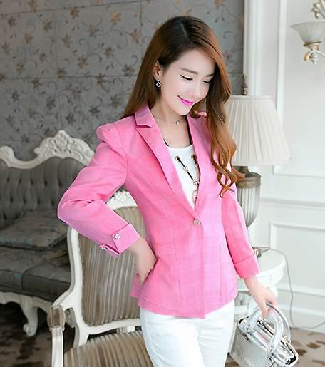 เสื้อคลุม ทรงสูท สีชมพู