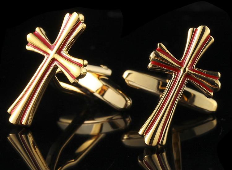 I1601 CUFF LINKS ไม้กางเขนทองสลับแดง