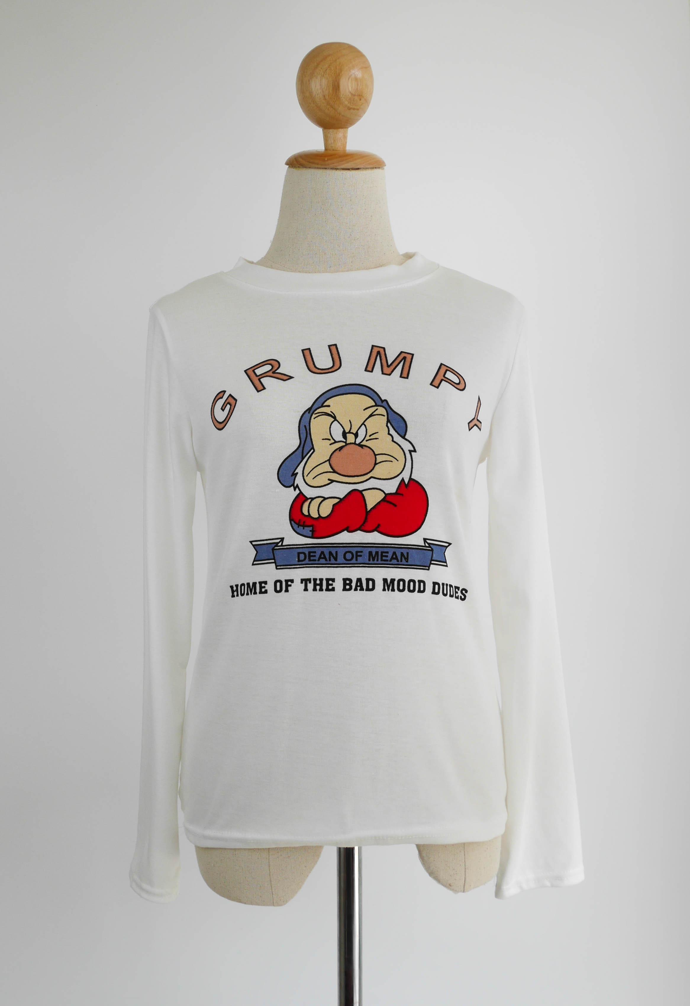 เสื้อยืดแฟชั่น แขนยาว ลาย GRUMPY สีขาว