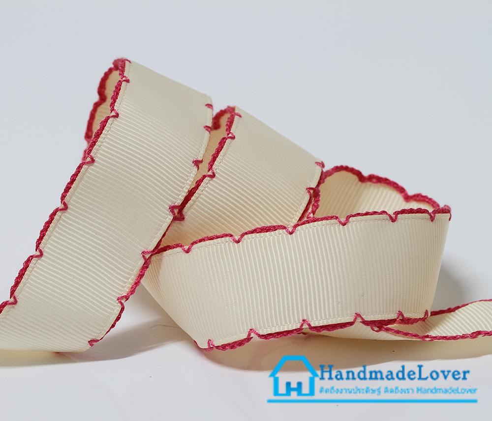 ริบบิ้นผ้า สีครีม ขอบลูกไม้ ขนาด 22 mm.