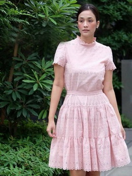 Lady Penelope Cosy Laser-Cut Cotton Dress