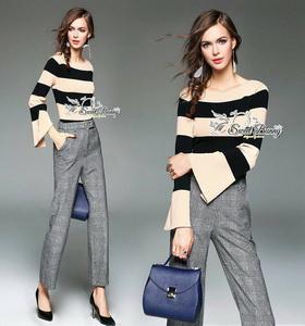 ชุดเซ็ทเสื้อริ้ว+กางเกง ผ้ายืดคอตตอนเนื้อดี