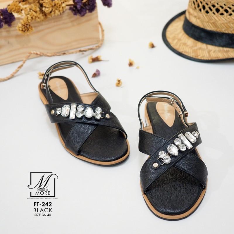 รองเท้าแตะรัดส้นสีดำ สายคาดไขว้ ประดับเพชร (สีดำ )