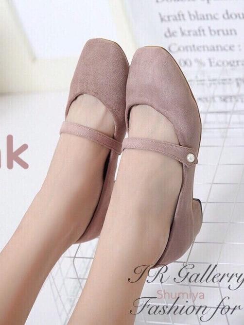 รองเท้าคัทชู ส้นเตี้ย ทรงสุภาพ (ชมพู )