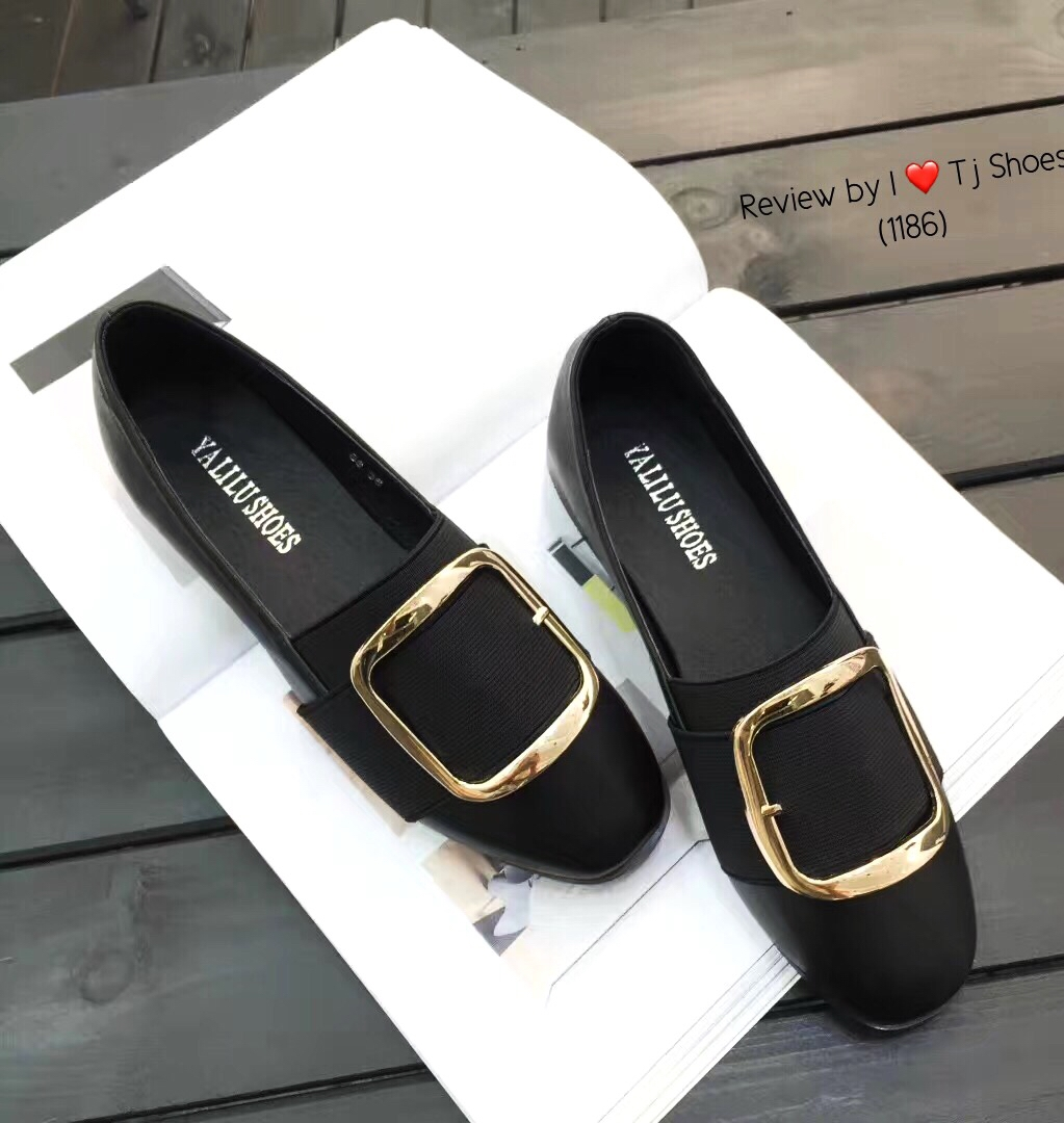 รองเท้าคัทชูหน้ายืดสีดำ หนังนิ่ม ทรงสุภาพ (สีดำ )