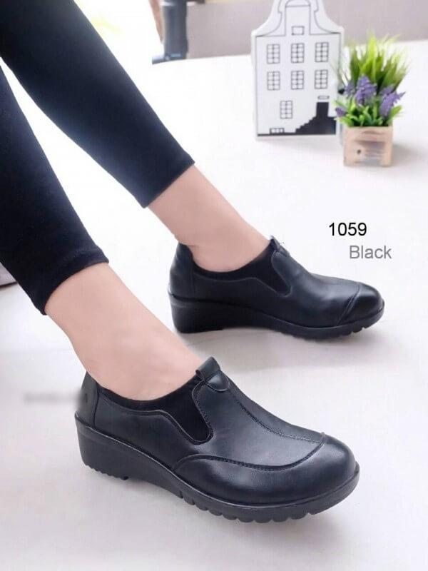 รองเท้าคัทชูเพื่อสุขภาพ สไตล์Oxford ขอบผ้ายืด (สีดำ )