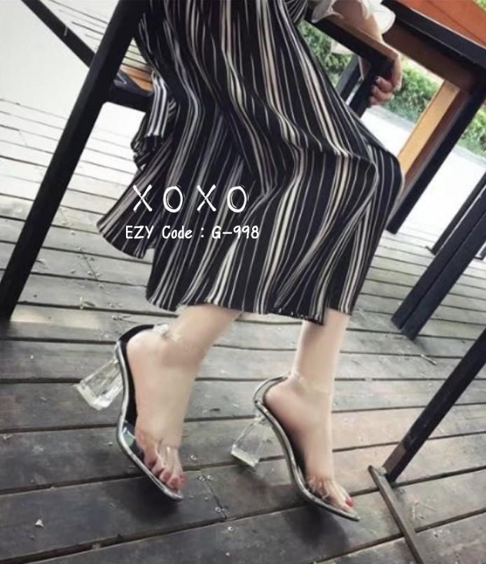 รองเท้าส้นแก้วรัดข้อ ดีไซด์โค้งเว้าสวยงาม (สีเงิน )