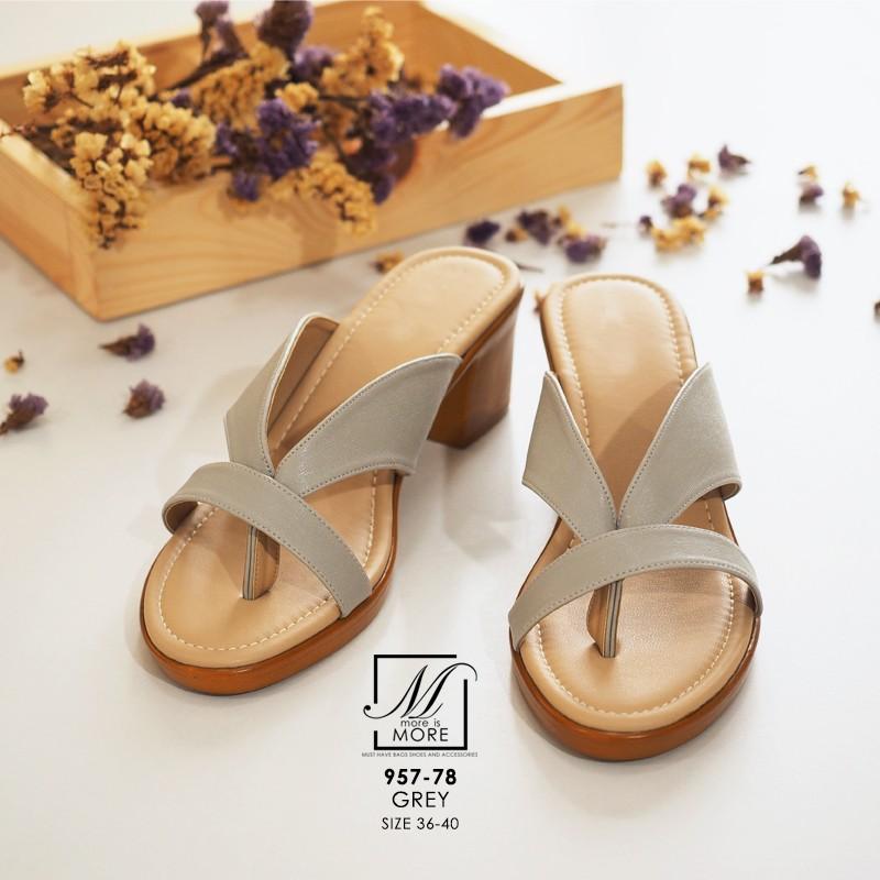 รองเท้าส้นตันสีเทา แบบคีบ เก็บเท้า match ง่ายกับทุกชุด (สีเทา )